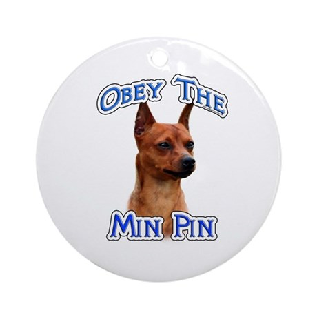 Min Pin Obey Ornament (Round)