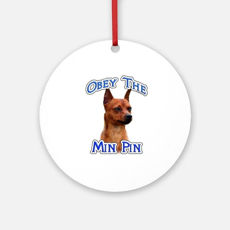 Min Pin Obey Ornament (Round)