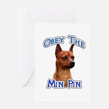 Min Pin Obey Greeting Cards (Pk of 10)