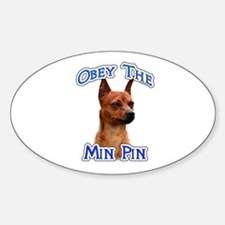Min Pin Obey Oval Decal