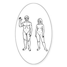 Nude Couple Oval Decal