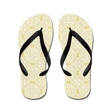 Custard Yellow & White Lace 2 Flip Flops