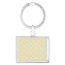 Custard Yellow & White Lace 2 Landscape Keychain