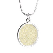 Custard Yellow & White Lace Silver Round Necklace