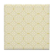 Custard Yellow & White Lace 2 Tile Coaster