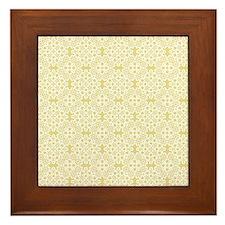 Custard Yellow & White Lace 2 Framed Tile