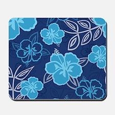 Hawaiian Hibiscus Pattern Blue Mousepad