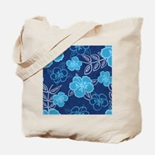 Hawaiian Hibiscus Pattern Blue Tote Bag