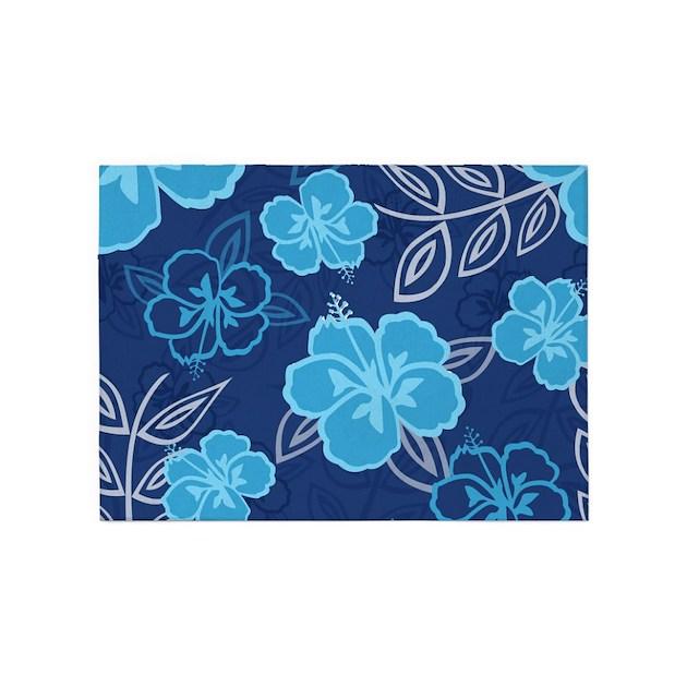 Hawaiian Hibiscus Pattern Blue 5'x7'Area Rug By Cutetoboot