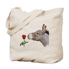 Mini donkey smelling a long stem red rose Tote Bag