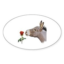 Mini donkey smelling a long stem re Decal