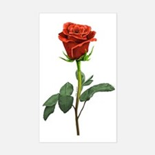 long stem red rose for valenti Sticker (Rectangle)
