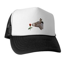 Mini donkey smelling a long stem red rose Trucker Hat
