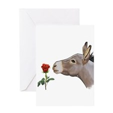Mini donkey smelling a long stem red rose Greeting