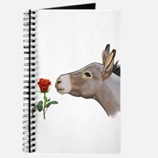 Mini donkey smelling a long stem red rose Journal