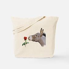 Mini donkey smelling a long stem red rose Tote Bag