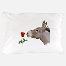 Mini donkey smelling a long stem red rose Pillow C