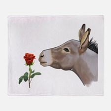 Mini donkey smelling a long stem red rose Throw Bl