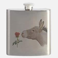 Mini donkey smelling a long stem red rose Flask