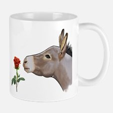 Mini donkey smelling a long stem red rose Mugs