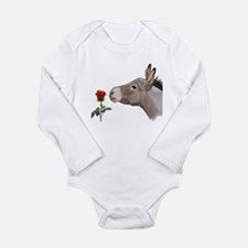 Mini donkey smelling a long stem red rose Body Sui