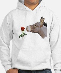 Mini donkey smelling a long stem red rose Hoodie