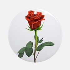long stem red rose for valentines day Ornament (Ro