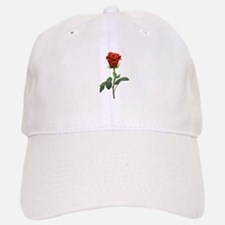 long stem red rose for valentines day Baseball Baseball Baseball Cap