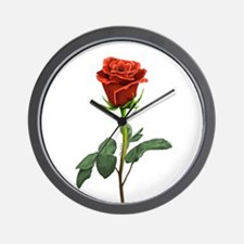 long stem red rose for valentines day Wall Clock