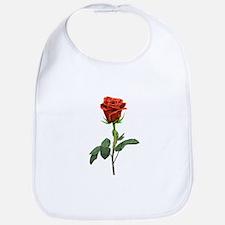 long stem red rose for valentines day Bib