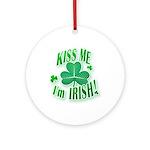 Kiss Me Shamrock Ornament (Round)