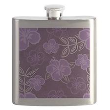 Hawaiian Hibiscus Pattern Purple Flask