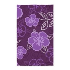 Hawaiian Hibiscus Pattern Purple Area Rug