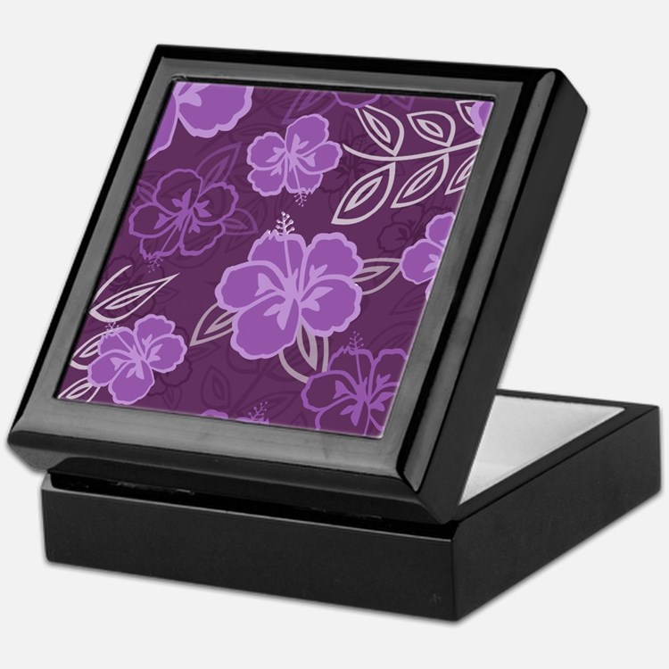 Hawaiian Hibiscus Pattern Purple Keepsake Box