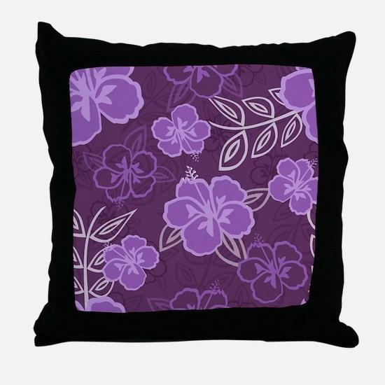 Hawaiian Hibiscus Pattern Purple Throw Pillow