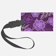 Hawaiian Hibiscus Pattern Purple Luggage Tag