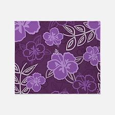 Hawaiian Hibiscus Pattern Purple Throw Blanket
