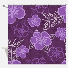 Hawaiian Hibiscus Pattern Purple Shower Curtain