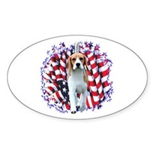 Beagle Patriot Oval Decal