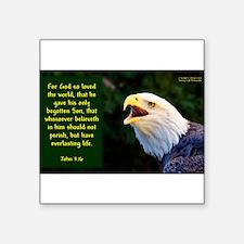 Talking Eagle (Left) - John 3:16 Sticker