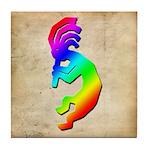 Rainbow Kokopelli Tile Coaster