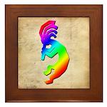 Rainbow Kokopelli Framed Tile