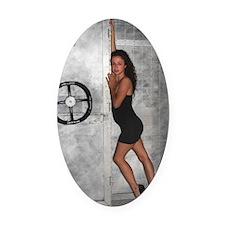 Black Dress Woman Oval Car Magnet