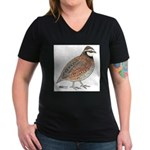 Bobwhite Cock Women's V-Neck Dark T-Shirt