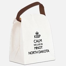 Keep calm we live in Minot North Canvas Lunch Bag