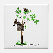 BIRDS WITH NESTING BOX Tile Coaster