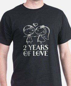 2nd Anniversary chalk couple T-Shirt