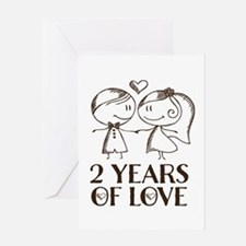 2nd Anniversary chalk couple Greeting Card