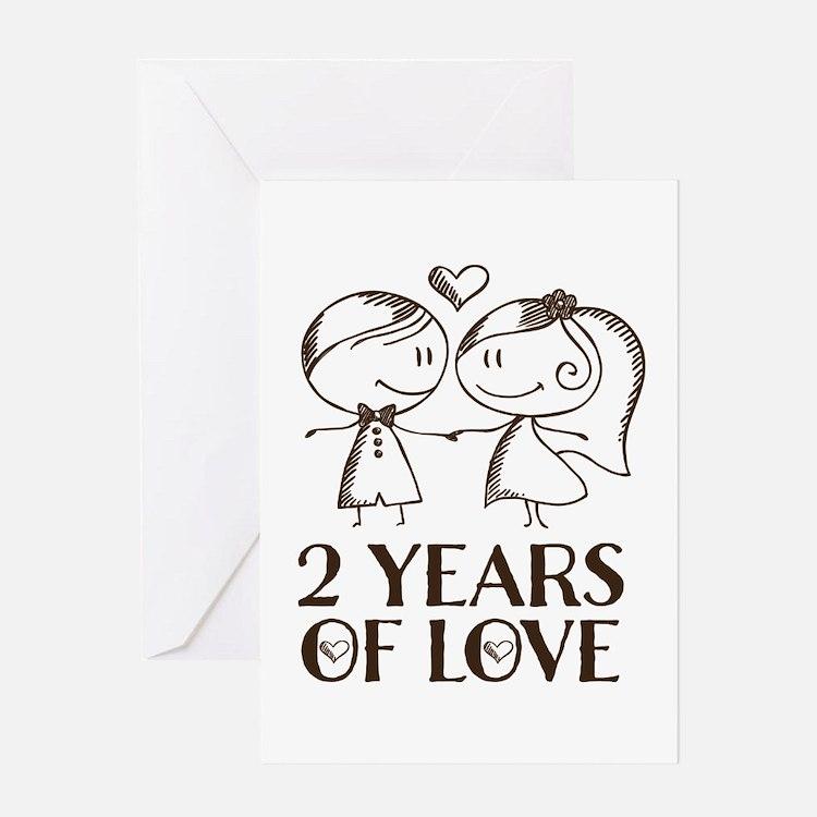 2nd Anniversary chalk couple Greeting Card