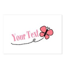 Personalizable Pink Butterfly Postcards (Package o